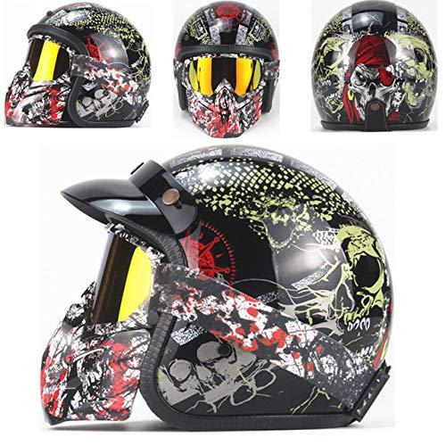 Berrd Casco moto Retro Open Face Casco moto retrò da corsa con maschera Maschera HD nero 2 XL