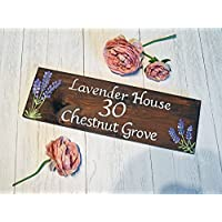 Personalised Exterior Lavender Wooden House Name Sign, Cottage Sign, Garden Sign, Flowers, Barn Sign, Farm Sign, Advertising Plaque, Wall, Business Sign, Outside, Rustic,