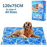 Dog Cooling Mat 120x75cm, Pet Gel Self-Cooling Pad for Summer Sleeping Bad Kennel Crate,Keep Pets Cool for Small and Medium Dogs, X-Large