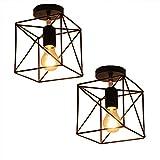 2x Vintage Käfig Eisen Draht Lampenschirm Deckenleuchte, MOTENT Retro Industrielle Metall DIY Stehlampe Pendelleuchte 7,09