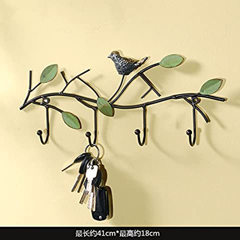 Fruot Bowls Decorative Hooks, Clothes Hooks, European Style Entrance Decorations, Wrought Iron Wall Hanging Walls, Door Hooks, Clothes Keys, Hat Racks, Creative Hangers, Long 53Cm, High 32Cm,Birdie Hook