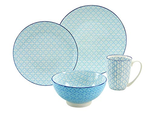 CreaTable 17364, Serie Mediterran, Geschirrset Single Set blau 4 teilig