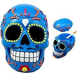 Ebros Dulce de Muerte Jour des Morts Bleu Sucre Tête de Mort Cendrier Tribal Tattoo Tête de Mort Boîte à Bijoux Figurine de 15,2cm de Long
