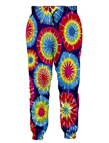Leapparel Unisex Tie Dye Print Pocket Drawstring Mode Neuheit Comfy Jogger Hose Sweatpant (Anzüge Tie Dye)