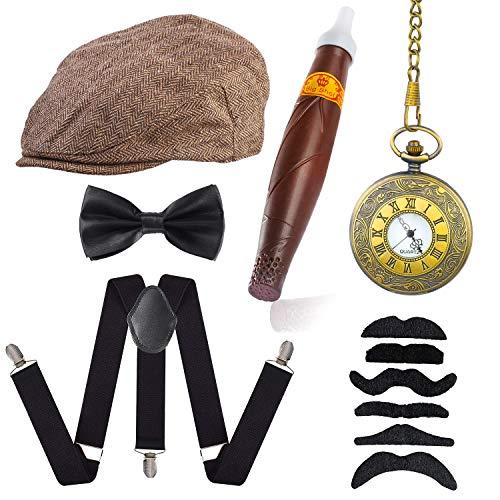 Kostüm & Spielzeug Hollywood - Beelittle 1920er Jahre Mens Gatsby Gangster Kostüm Zubehör Set - Gatsby Newsboy Baskenmütze Hut, Hosenträger, Taschenuhr, Krawatte, Pre gebundene Fliege, Zigarre, falschen Schnurrbart (D)
