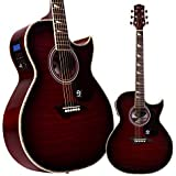 Lindo ORG Regular Body Electro Acoustic Guitar with Preamp LCD Tuner & Gig bag - Red Gloss