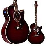 Lindo Guitars Org Guitare électro-acoustique corps régulier avec pré-ampli, accordeur Lcd et étui sac?Rouge brillant