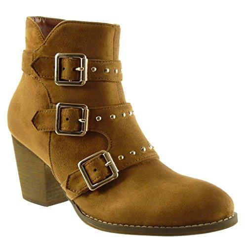 Angkorly - Damen Schuhe Stiefeletten - Biker - Reitstiefel - Kavalier - Nieten - besetzt - String Tanga - Schleife Blockabsatz high Heel 7 cm - Camel LL684 T 39