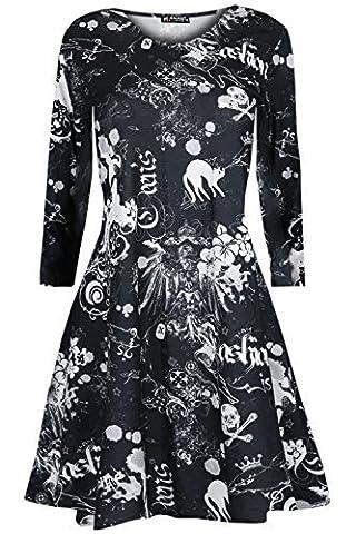 Oops Outlet Mädchen Kinder Halloween Kostüm Unheimlich Ausgestellt Schädel Crew T-shirt Gespenstisch Swing Kleid - Cat Schädel, 9-10 (Kinder Cat Halloween Kostüme)