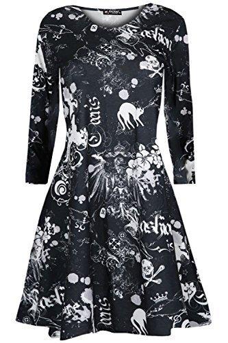 Oops Outlet Mädchen Kinder Halloween Kostüm Unheimlich Ausgestellt Schädel Crew T-shirt Gespenstisch Swing Kleid - Cat Schädel, 9-10 (Katze Kostüme Frauen Halloween)
