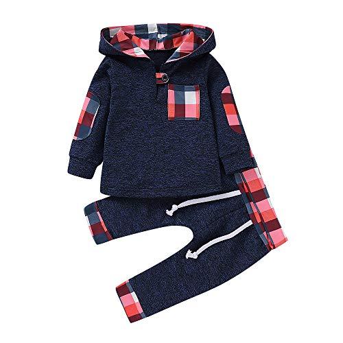 Babykleidung Neugeborene Winter,Covermason Säugling Kleinkind Baby Jungen Mädchen Plaid Pullover mit Kapuze Oberteile Tops+ Hosen Set Outfits (12-18M, Dunkelblau)