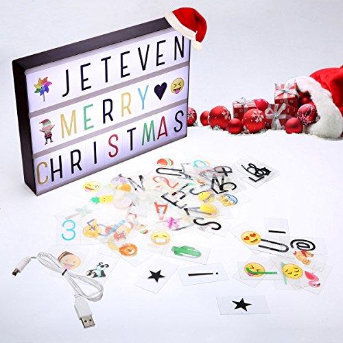 Jeteven licht box A4 mit 210 Buchstaben und Emojis Symbolen selbst gestalten batteriebetrieben Vintage Kino USB Anschluss Film Leuchtkasten