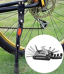 Temork 16 in 1 Fahrrad Repair Tool und Ständer Kit, Multifunktionale Fahrrad Radfahren Mechaniker Werkzeuge und einstellbare Aluminiumlegierung Bike Side Stand für MTB Fahrrad Radfahren und Reparatur (Schwarz)