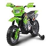 BAKAJI Moto Elettrica per Bambini Cross 6V Minimoto elettrica colore Verde con Rotelle e Caricabatterie