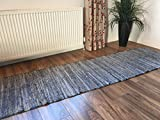 Second Nature Lang Blau Denim Chindi Indischen Flickenteppich Läufer 60 cm x 240 cm (15,2 x 8 ft)