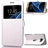Galaxy S7 Edge Coque - Mythollogy Ultra Mince PU Cuir Portefeuille Etui Fenêtre Style avec Support Housse pour Samsung Galaxy S7 Edge G935F 5.5' Blanc