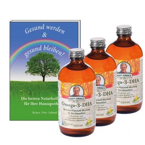 3 x Omega-3-DHA, 250 ml + Buch: Gesund werden & Gesund bleiben (gratis) (Omega-3-flora)