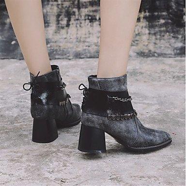 Femmes Chaussures Imitation Cuir Hiver Bottes Innovantes Carré Bottines Pointu Mi-mollet Bottes Pour Casual Soirée Et Fête Noir