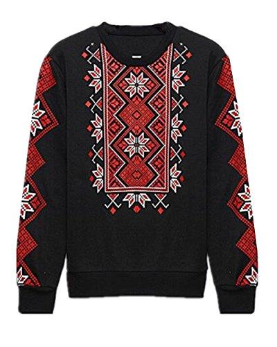 Gogofuture Chaud Femme Plus Cachemire Pullover Imprimé Col Rond Sweatshirt Manches Longues Décontractée Tops à Sweats Casual Black