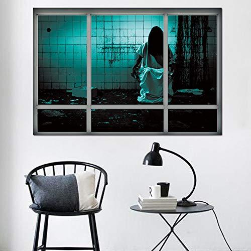 Wandaufkleber 3D Halloween Ruiniert Dreidimensionale Gefälschte Fensteraufkleber Des Weiblichen Geistes Wohnzimmer-Schlafzimmer-Dekorationsaufkleber