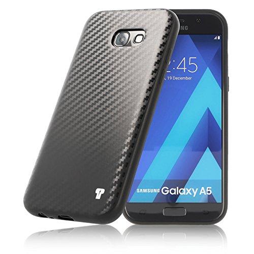 PULSARplus Handyhülle kompatibel mit Samsung Galaxy A5 2017 Hülle Schutzhülle dünn Case Cover Black Carbon Design schwarz -