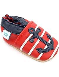 Dotty Fish - Chaussures cuir souple bébé et bambin - Garçons - Véhicules