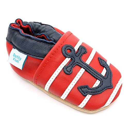 Dotty Fish - Cuir Chaussures Bébé en boîte cadeau - garçons et filles - bébé 0-6 mois 6-12 mois, 12-18 mois, 18-24 mois Ancre rouge et marine