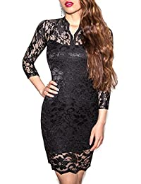 SODACODA Lace Short Dress - Evening Clubbing Casual 3/4 Sleeve Slim-Fit - V-neck - all colours and sizes