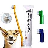 Hund Zahnpasta, Dog Toothpaste, Hund Zahnpflege-Set, Zahnbürste, Fingerbürsten, Mundpflege Zahnpasta für Hunde und Katzen, Kämpft gegen den Mund, Plaque & Tartar- Pet Dental Care Kit- Vanilla flavor