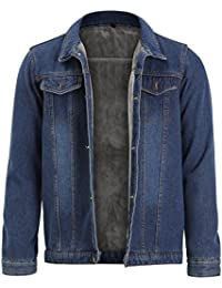 Allthemen Mens Blue Denim Jacket Regular Fit Cotton Trucker Coat