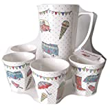 The Caravan Trail Festival Melamine Jug, Multi-Colour with Set of Four Melamine Matching Beakers