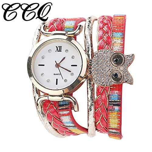 TianWlio Armbanduhren Damen Art und Weise Beiläufige Analoge Quarz Frauenrhinestone Eulen Armband Uhr