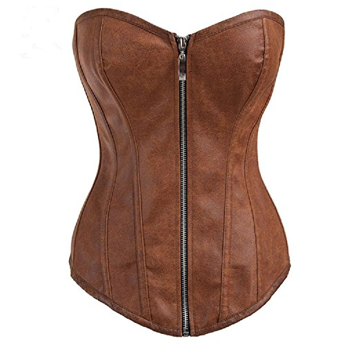 BSLINGERIE® Sexy Braune Kunstleder Leder-Optik Korsagen Korsett (M - EU 36 -38, Braun) (Korsett Leder Damen)
