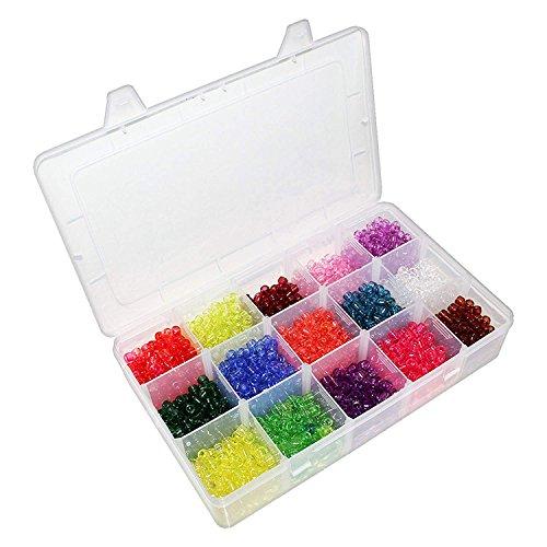Kostüm Sie Ihre Schmuck Machen Eigenen - 2200-tlg Rocailles Perlen - 7mm Kleine Kunststoff Rocailles Transparent für Armbänder, Halsketten, Basteln, Schmuckherstellung - Kunststoff Barrel Pony Perlen mit Sortierbox - Bunte Bastelperlen