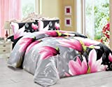 3D Effect Duvet Quilt Cover Bedding Set with Fitted Sheet + Pillow Cases Floral (DANA, King)