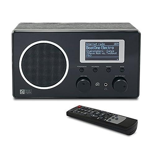 Ocean Digital Internet Radio WR282 WiFi WLAN Wireless Anschluss FM Wooden Desktop Media Player LCD-Display-Schwarz
