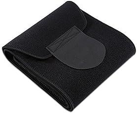 Choomantar Shop Premium Quality, Waist Trimmer Fat Burner Belly Tummy Yoga Wrap Black Exercise Body Slimming Belt for Men & Women (Free Size, Black)