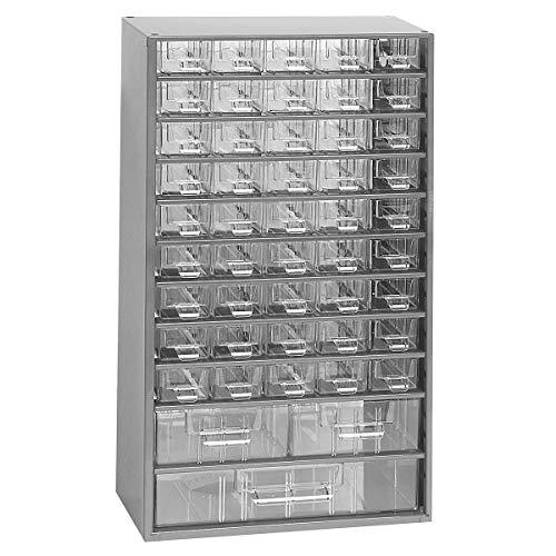 Certeo Schubladenmagazin aus Stahl | HxBxT - 551 x 306 x 155 mm | 48 transparente Schubladen - 3 Größen| Gehäuse lichtgrau| Kleinteilemagazin Klarsichtmagazin - Große Stahl-gehäuse