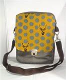 Schultertasche, Herrentasche, Umhängetasche aus Kunstleder und Baumwolle, ein Raumwunder