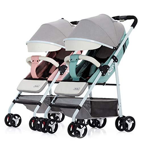 Passeggino gemellare staccabile, carrozzina portatile può sedersi e sdraiarsi carrello doppio pieghevole leggero
