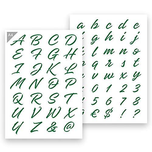 QBIX Buchstaben Schablone Dekorative Buchstaben - A4 Größe - Höhe Buchstaben 2-3 cm - wiederverwendbar, kinderfreundliche Schablone, DIY Schablonen-Kunst