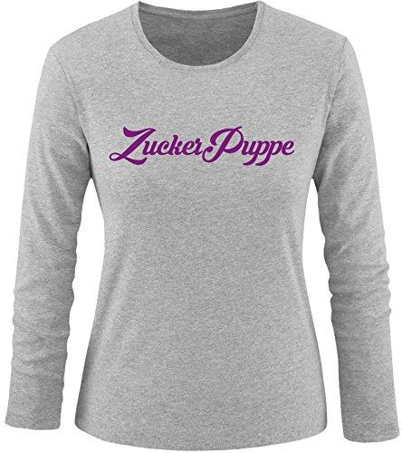EZYshirt® Zuckerpuppe Damen Longsleeve Grau/Violett
