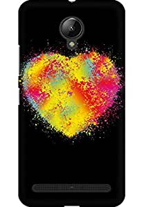 AMEZ designer printed 3d premium high quality back case cover for Lenovo Vibe C2 (Abstract colors heart)