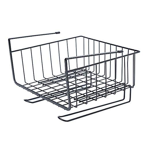 Pawaca Regal-Korb mit Regal-Organizer für Küche Pantry Schrank Kleiderschrank-Zubehör Schwarz (Pantry-küche-korb)