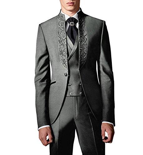 Suit Me Herren 3 Teilig Stickerei Hochzeit Anzug Party Tuxedos Smoking Anzuege Sakko,Weste,Hose Grau L