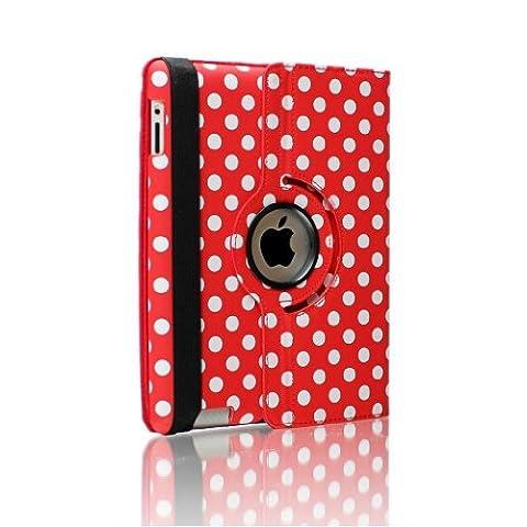 Zafoorah véritable Ipad Coque pour Apple iPad Protection avant/arrière, stylet et film protecteur d'écran iPad Mini and iPad Mini with Retina Display Polka Dots - RED