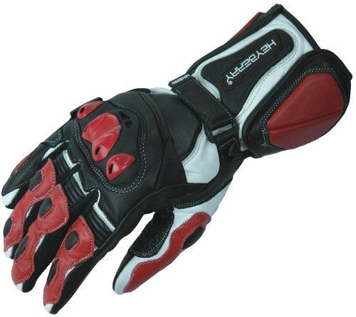 HEYBERRY Motorradhandschuhe Leder Motorrad Handschuhe schwarz rot Gr. M
