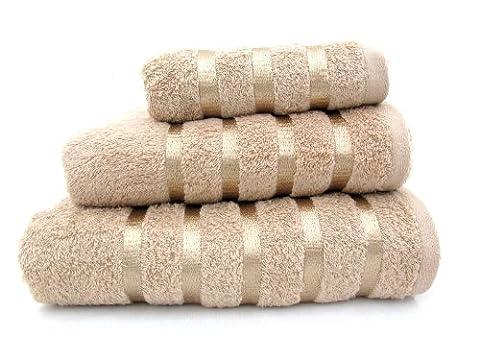 100% Pure Cotton Luxury Savoy Stripe Latte / Beige Bath Towel - 550gsm, 70x125cms