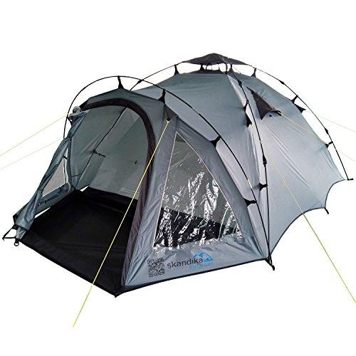 skandika Quick Pitch 3 | Schnellaufbau-Zelt für 3 Personen | Festivalzelt | vormontierte Stangen | 3.000 mm Wassersäule | separater Eingang zur Schlafkabine | Moskitonetze (grau/dunkelgrau)