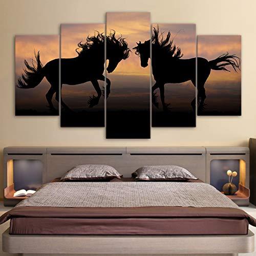 ndbilder HD Gedruckt Wandkunstwerk 5 Stücke Zwei Schwarze Pferde Sonnenuntergang Landschaft Wohnzimmer Wohnkultur Poster ()